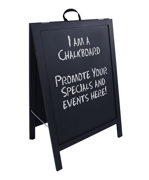 A-Frame Sidewalk Chalkboard Sign – Double Sided - Black Wood Frame
