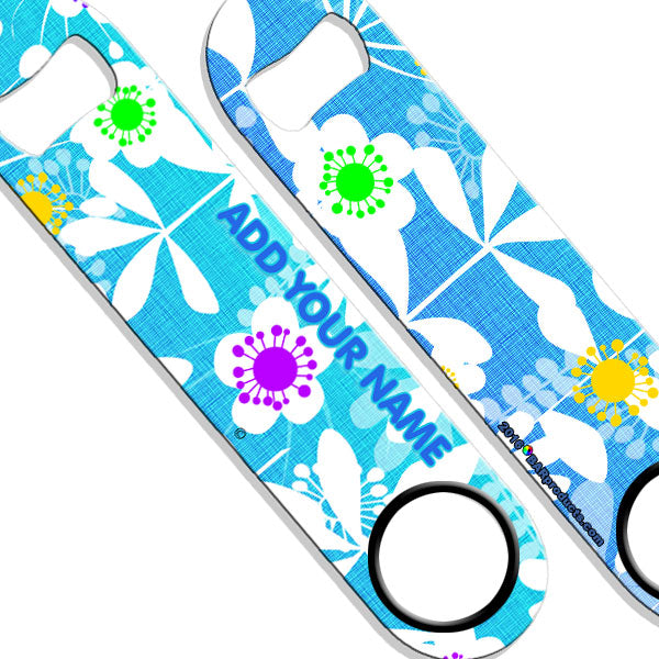 ADD YOUR NAME SPEED Bottle Opener – Abstract Flowers BLUE