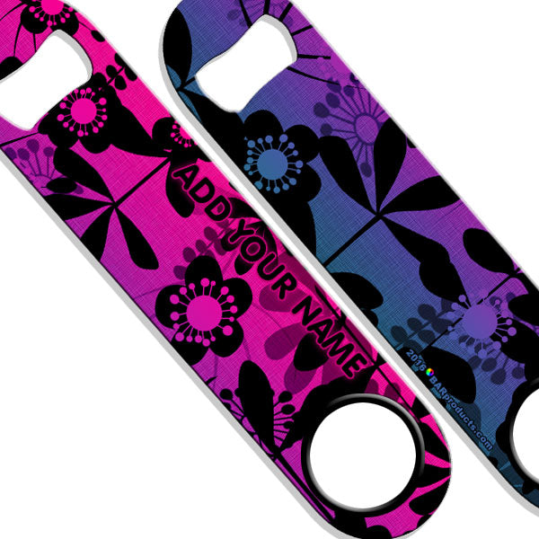 ADD YOUR NAME SPEED Bottle Opener – Abstract Flowers PINK
