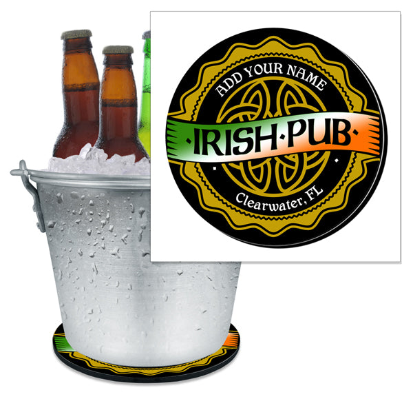 ADD YOUR NAME - Beer Bucket Coaster - Irish Pub