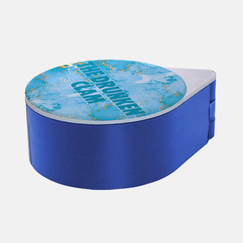 ADD YOUR NAME - Custom Glass Rimmer Lid - Turquoise Marble with blue base