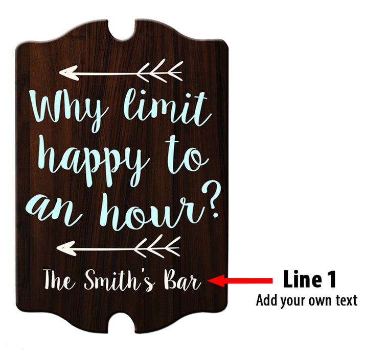 Custom Tavern Shaped Wood Bar Sign - Happy Hour