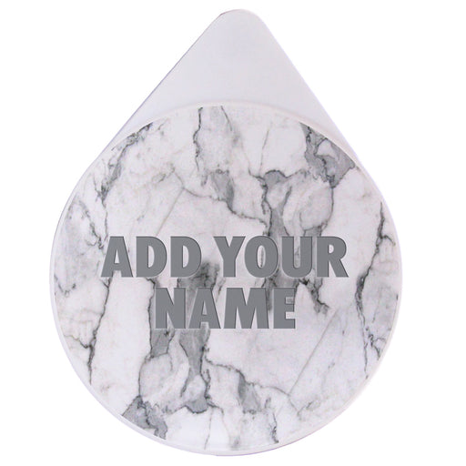 ADD YOUR NAME - Custom Glass Rimmer Lid - White Marble Top