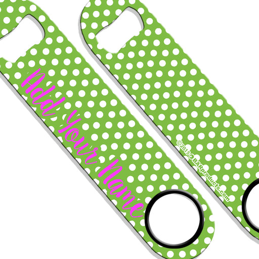 ADD YOUR NAME SPEED Bottle Opener – Polka Dots - Green