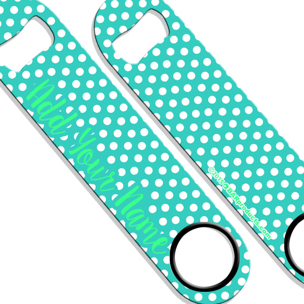 ADD YOUR NAME SPEED Bottle Opener – Polka Dots - Teal