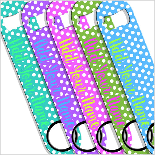 ADD YOUR NAME SPEED Bottle Opener – Polka Dots