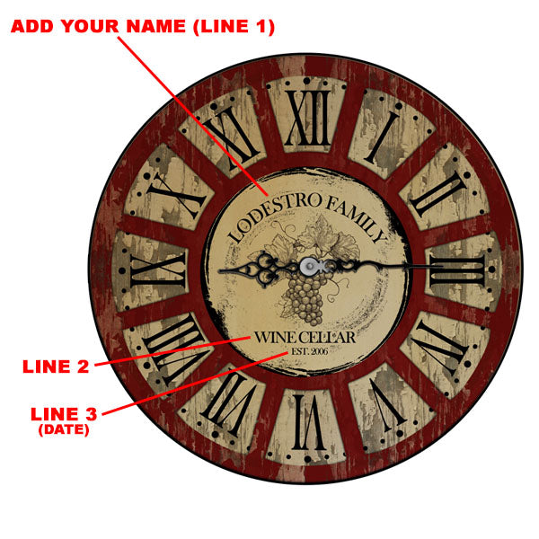 CUSTOMIZE - Rustic Wooden Clock - Wine Theme - Multiple Sizes