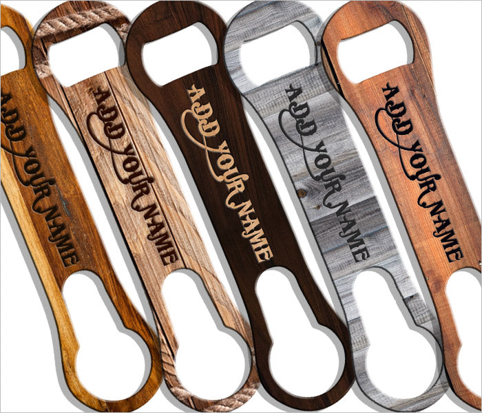 ADD YOUR NAME Customizable  V-ROD® Bottle Opener – Wood Patterns