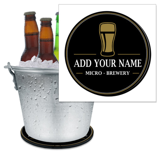 ADD YOUR NAME - Beer Bucket Coaster - Micro-Brewery