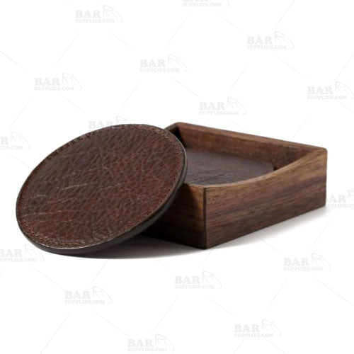 American Bison Leather & Suede Coasters (set of 4) w/ walnut box