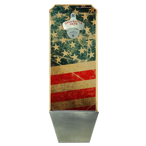 American Flag – Wall Mounted Wood Plaque Bottle Opener and Cap Catcher