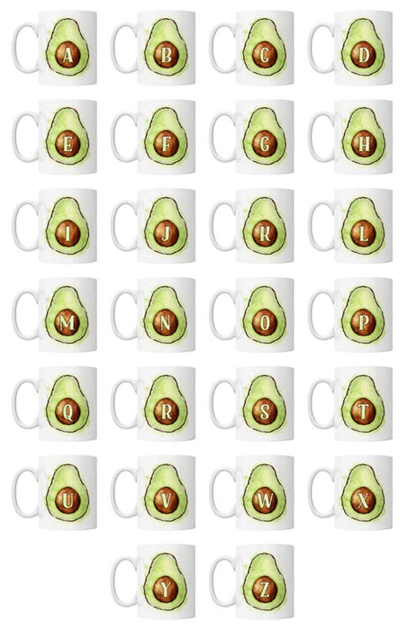 CUSTOMIZABLE 15 ounce Coffee Mug - MONOGRAM - Avocados