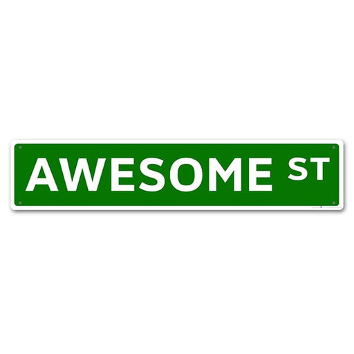 """Awesome St"" Kolorcoat Metal Bar Sign"