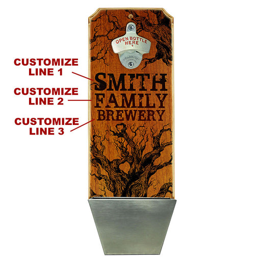 Custom Wall Mounted Wood Plaque Bottle Opener and Cap Catcher - Family Brewery
