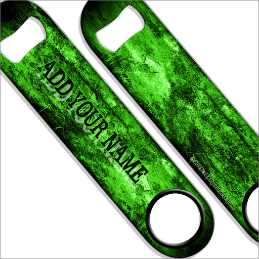 """ADD YOUR NAME"" SPEED Bottle Opener – Grunge – Several Color Options - Green"