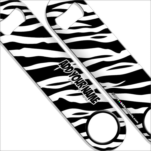 """ADD YOUR NAME"" SPEED Bottle Opener – Zebra Patterns – Several Color Options - White"