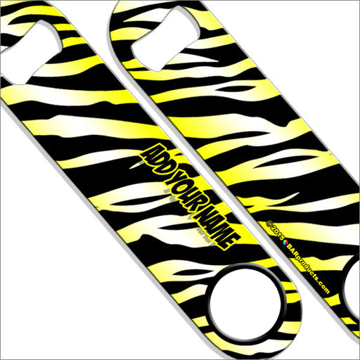 """ADD YOUR NAME"" SPEED Bottle Opener – Zebra Patterns – Several Color Options - Yellow"