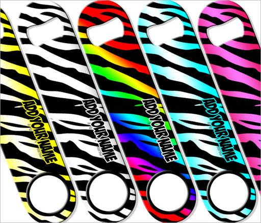 """ADD YOUR NAME"" SPEED Bottle Opener – Zebra Patterns – Several Color Options"