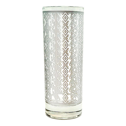 BarConic® Collins Glass - Silver Aztec Pattern - 9.5 ounce