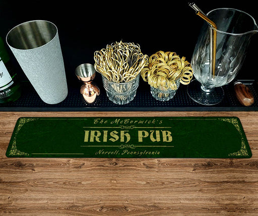 "Custom Printed Bar Mat - Irish Pub - 20"" x 4"""