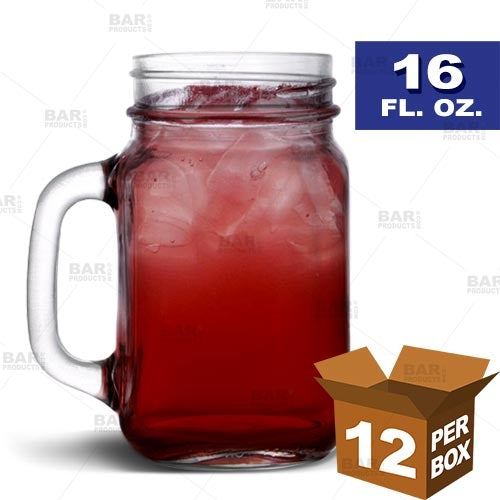 BarConic® Mason Jar with Handle - 16 oz [Box of 12]