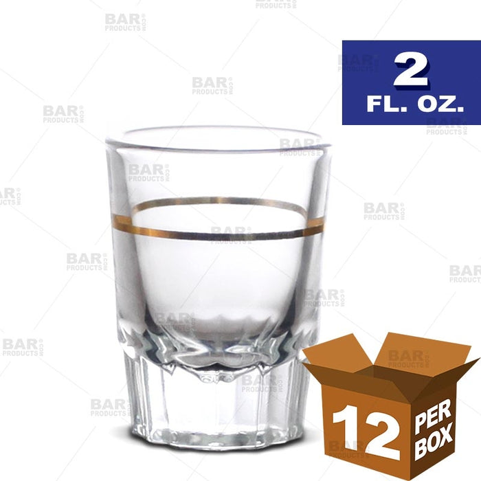 BarConic® Shot Glass (with Gold 1 oz Measure Line) - 2 oz [Box of 12]