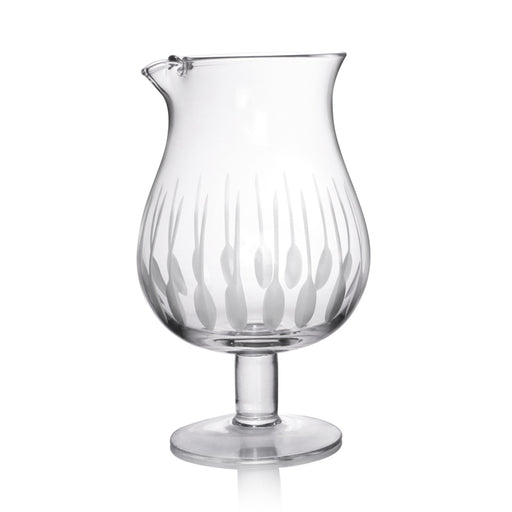 Feather Etched Stemmed Mixing Glass