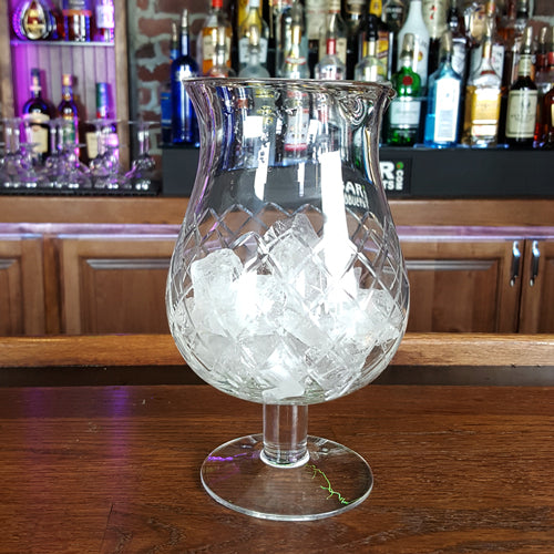 Stemmed Diamond Pattern Mixing Glass - with ice