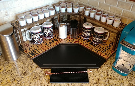 Counter Caddies™ - BARISTA Theme - CORNER Shelf w/ K-CUP Holes