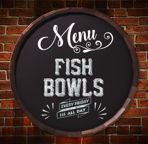 Bar & Menu Chalkboard Barrel Top Tavern Signs (Several Styles Available)
