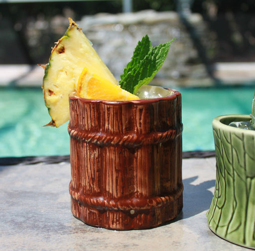 BarConic® Tiki Drinkware - Ceramic Rum Barrel Mug - 12 ounce
