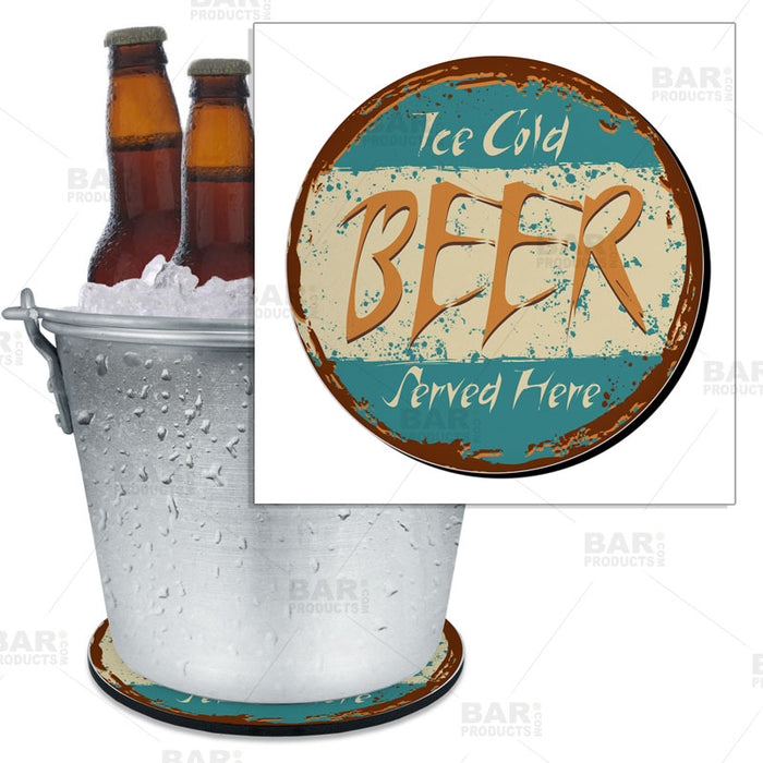 "Beer Bucket Coaster - Retro Ice Cold Beer Served Here - 8.75"" Diameter (Reuseable)"