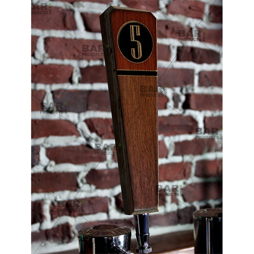 Numbered Beer Tap Handles - Oak Wood - Emblem