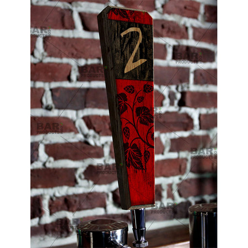Numbered Beer Tap Handles - Oak Wood - Red / Black Grunge