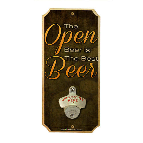 Open Beer - Wall Mounted Wood Plaque Bottle Opener
