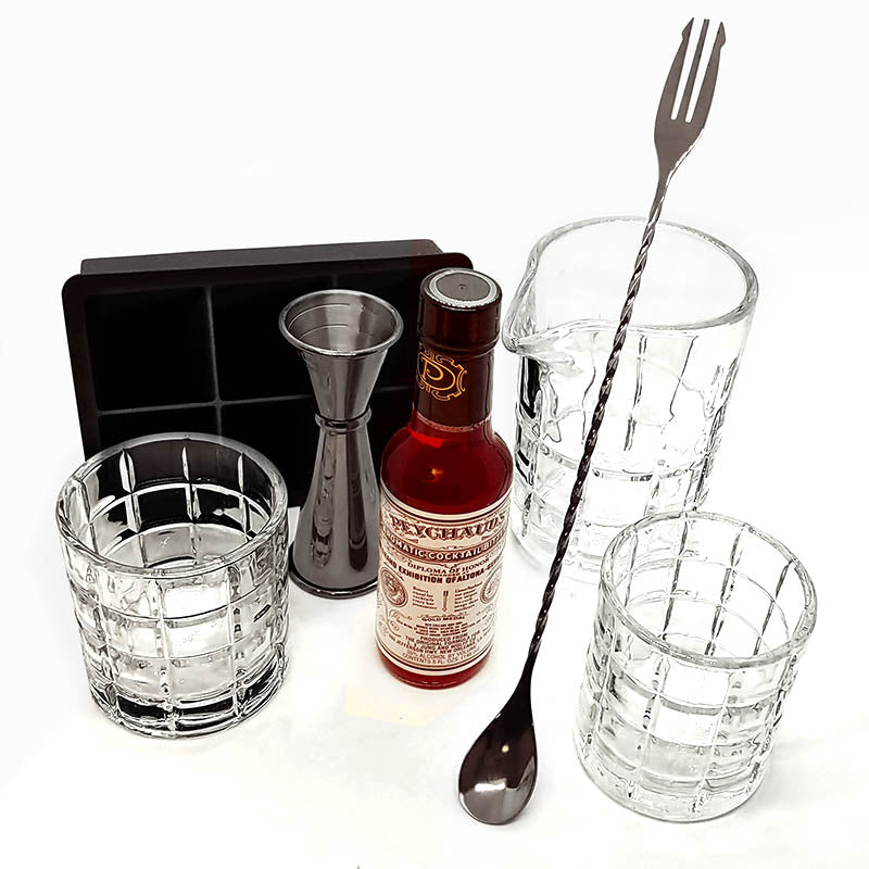 Block Whiskey Kit with Gunmetal Plated Bar Tools