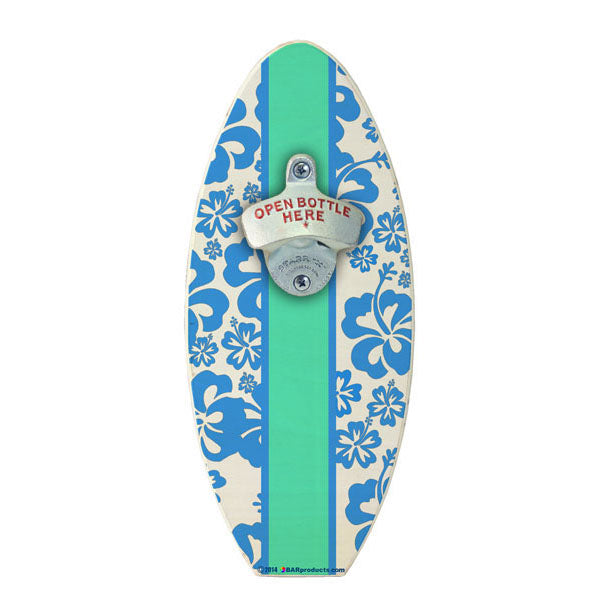 Blue Hawaiian Flowers Wooden Surfboard Wall Bottle Opener