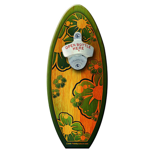 Green Hibiscus - Wooden Surfboard Wall Mounted Bottle Opener