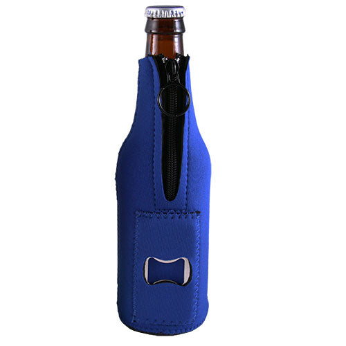 Neoprene Bottle Cooler w/ Bottle Opener - Blue