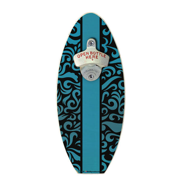Blue Swirls Wooden Surfboard Wall Mounted Bottle Opener