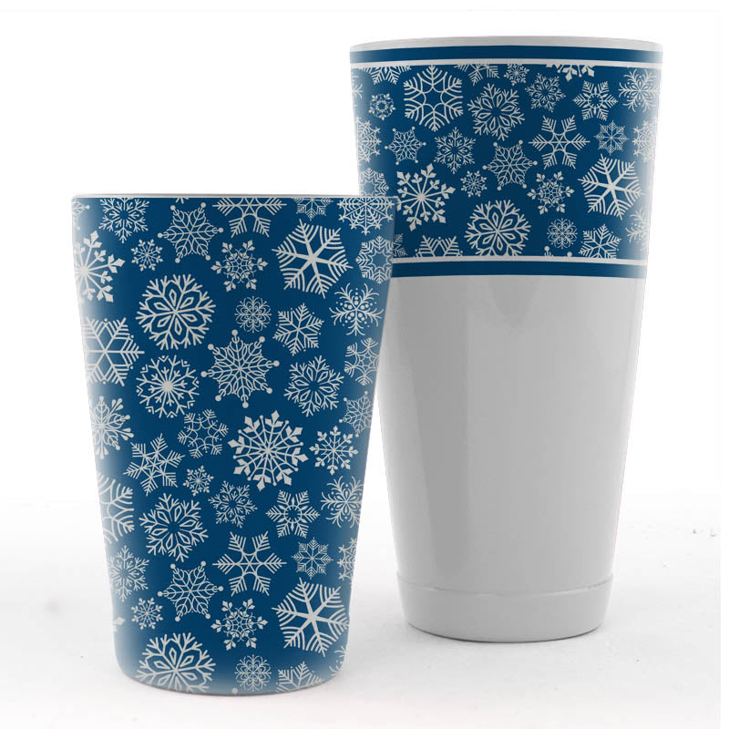 Snowflake Shaker Set - 28 / 18 ounce - Blue and White