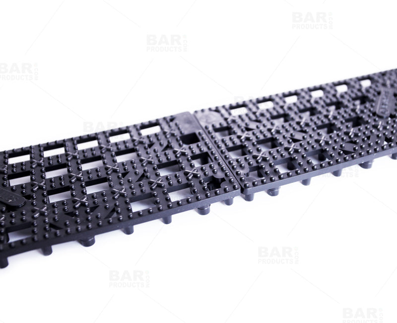 "San Jamar 3 1/2"" x 12"" Black Interlocking Bar Mat Strip"