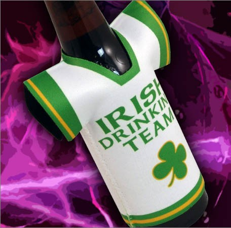 T-Shirt Style Bottle Coozie - Irish Drinking Team