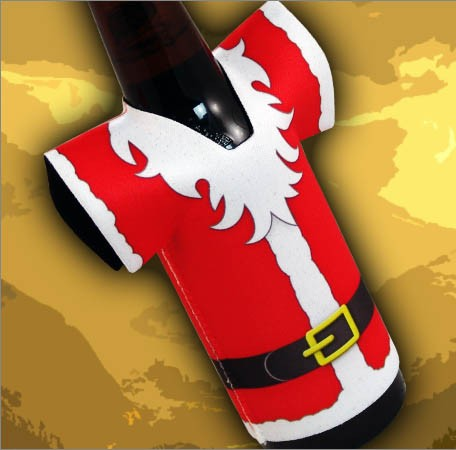 T-Shirt Style Bottle Coozie - Santa