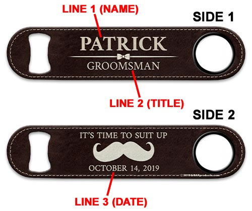 ADD YOUR NAME Speed Bottle Opener - Groomsman Leather Print