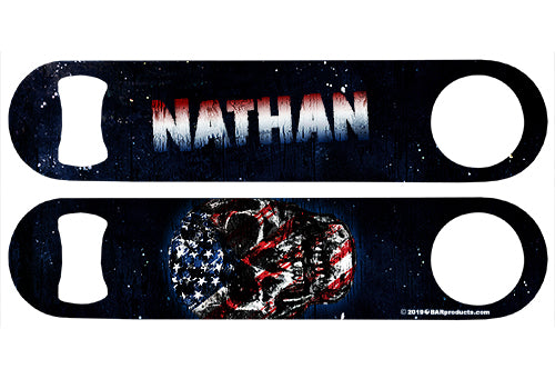 ADD YOUR NAME Speed Bottle Opener - Grunge American Flag Skull