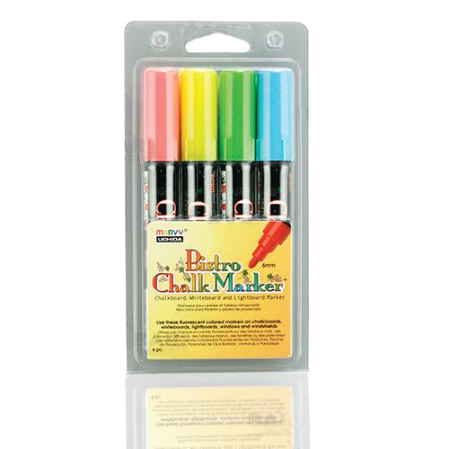 4 Piece Broad Point Chalk Marker Set (Fluorescent Red, Blue, Green & Yellow)