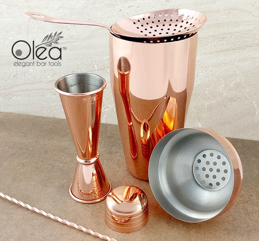 Olea™ Bar Set - Copper Plated - 4 Piece (Bar Spoon Tip Option)