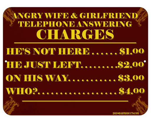 Telephone Answering Charges Bar Signs