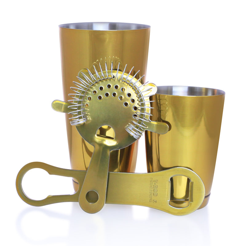 Candy Gold 4 Piece V-Rod® Bar Set with 18oz Shaker Tin